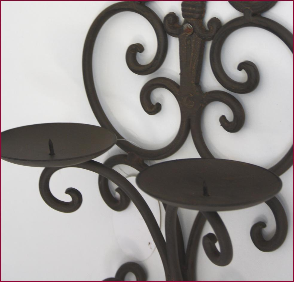 2 bougeoir chandelier applique a bougie fer mural lampe - Bougeoir mural fer forge ...