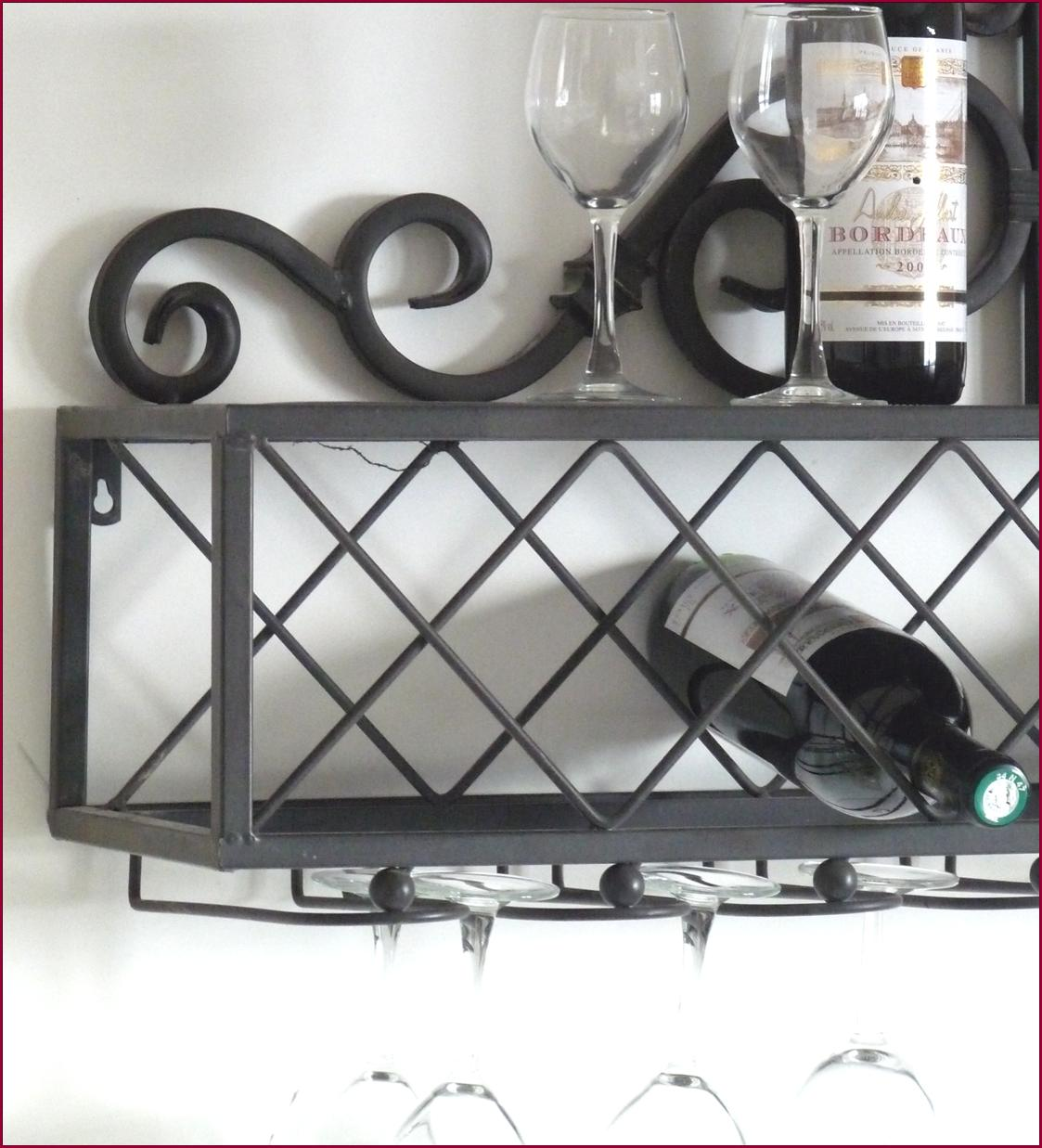 etagere console porte bouteille verre cave a vin bar de cuisine mural en fer ebay. Black Bedroom Furniture Sets. Home Design Ideas