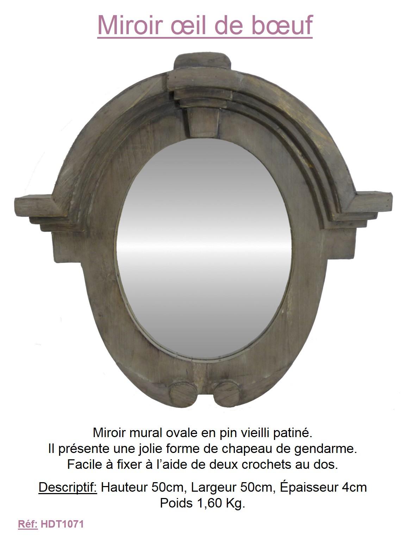 Miroir facon oeil de boeuf cadre bois moule mural reflet for Miroir oeil de boeuf