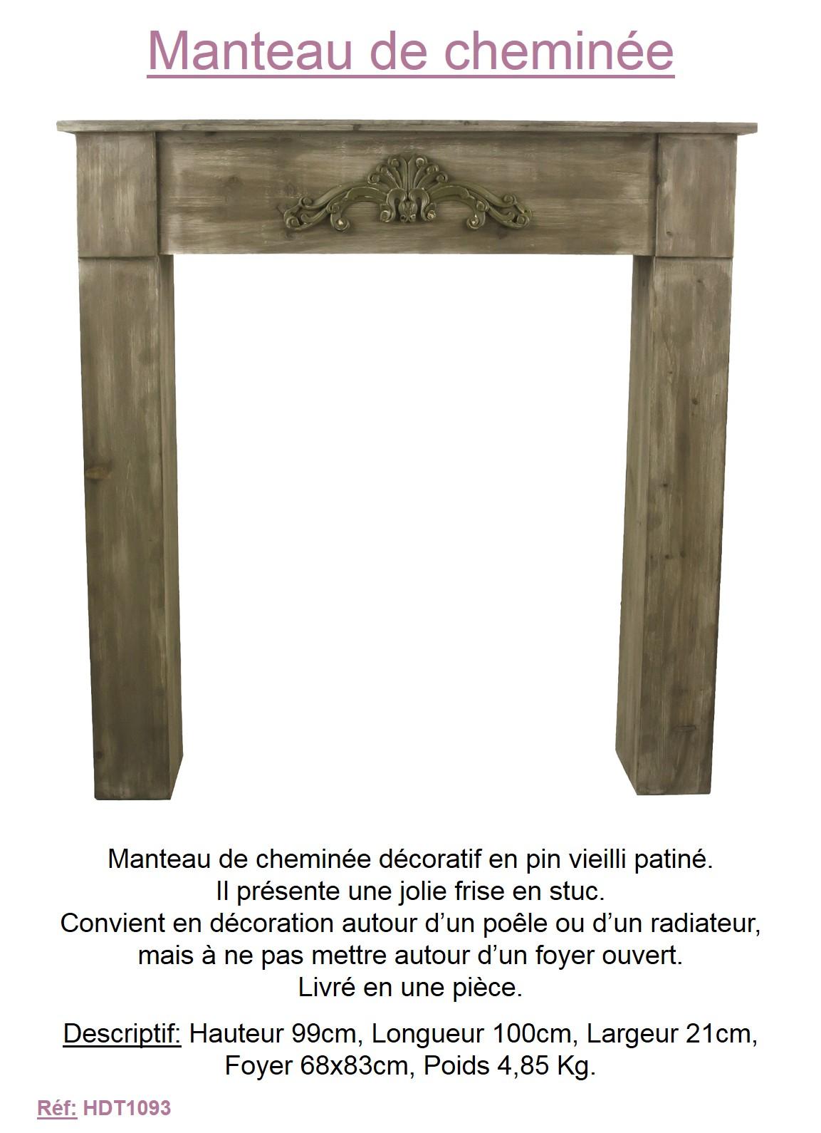 Manteau de cheminee facade decorative poel a bois a - Manteau cheminee decorative ...