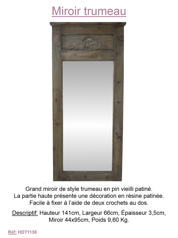 Grand miroir rectangulaire mural trumeau en bois avec for Miroir trumeau bois