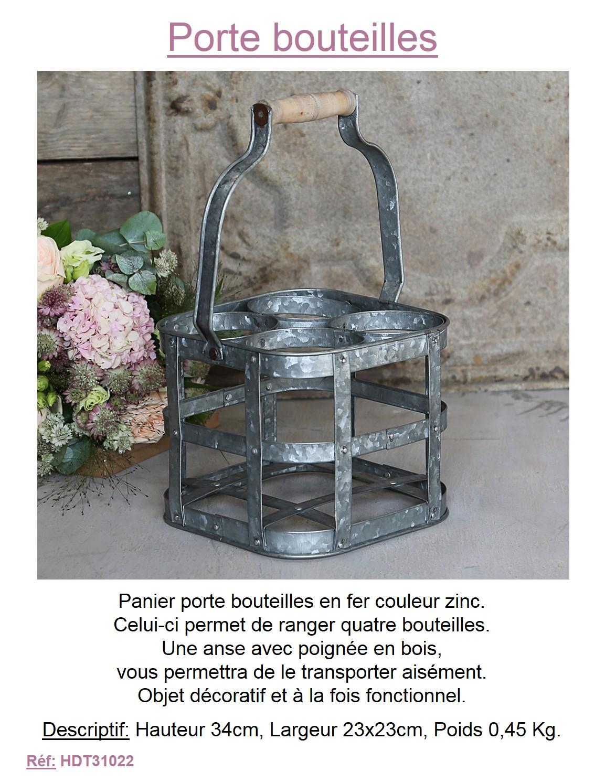 porte bouteille panier 4 emplacements boisson panier corbeille fer facon zinc ebay. Black Bedroom Furniture Sets. Home Design Ideas