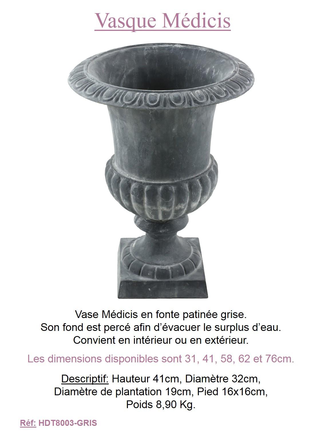Vase vasque medicis fonte jardiniere bac cache pot deco plantation jardin 41cm ebay for Jardiniere vasque jardin