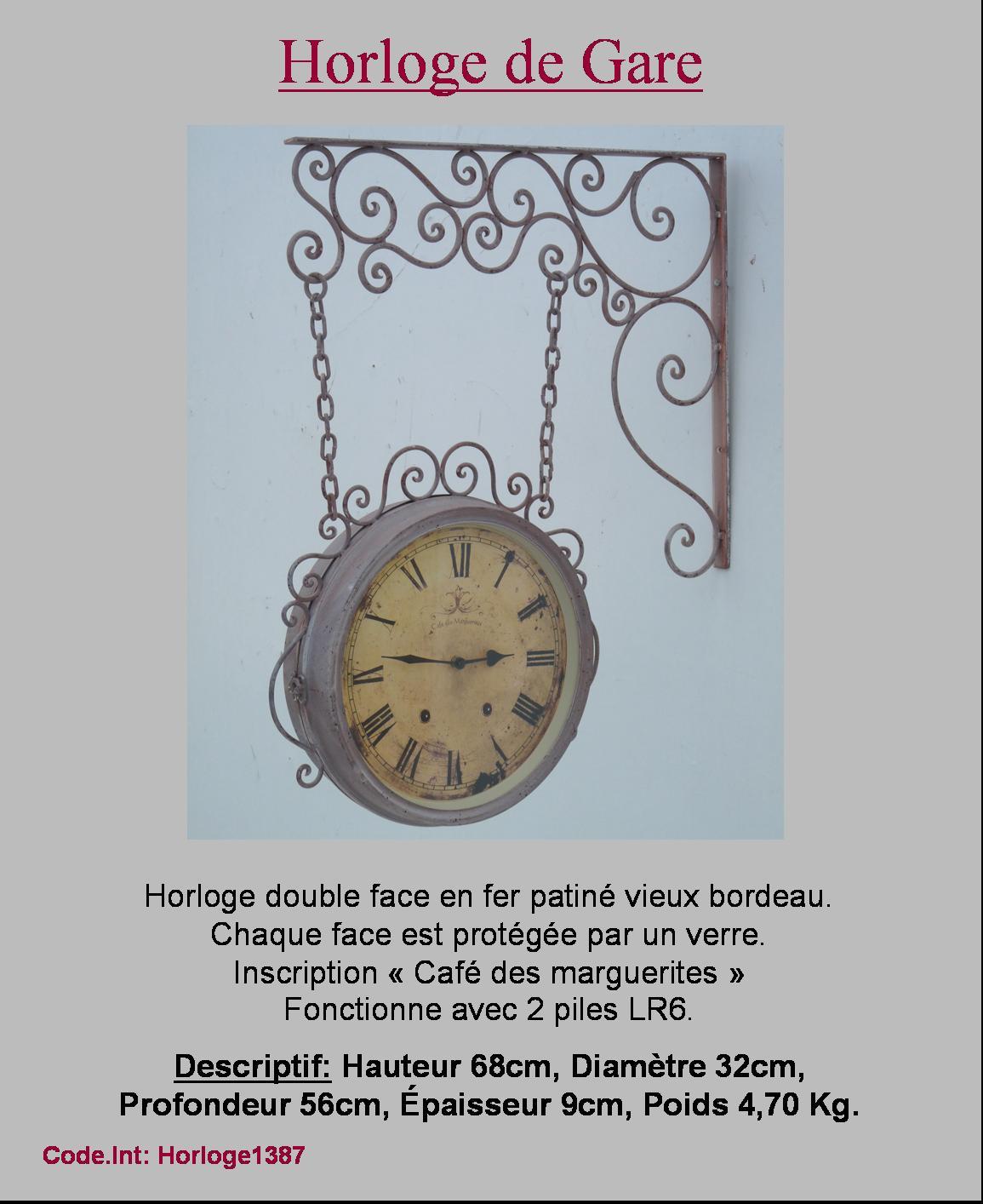 Style ancien vieille horloge de gare fer forge murale ebay for Horloge en fer forge noir