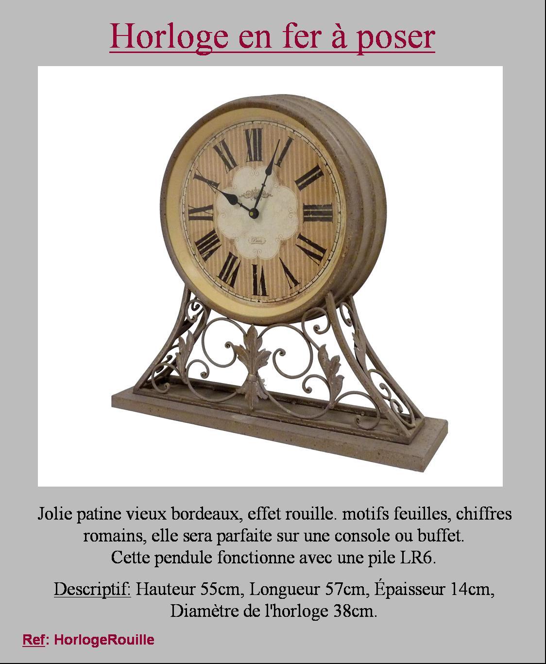style ancienne grande pendule horloge a poser metal fer style usine industriel ebay. Black Bedroom Furniture Sets. Home Design Ideas