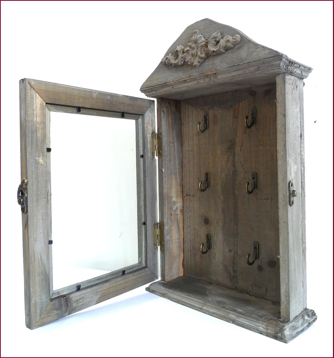 Style ancienne boite coffre armoire de rangement a clef cles en bois murale - Armoire de rangement murale ...