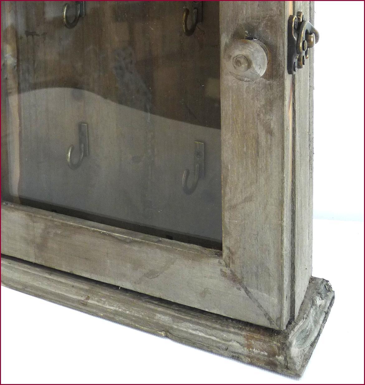 style ancienne boite coffre armoire de rangement a clef cles en bois murale