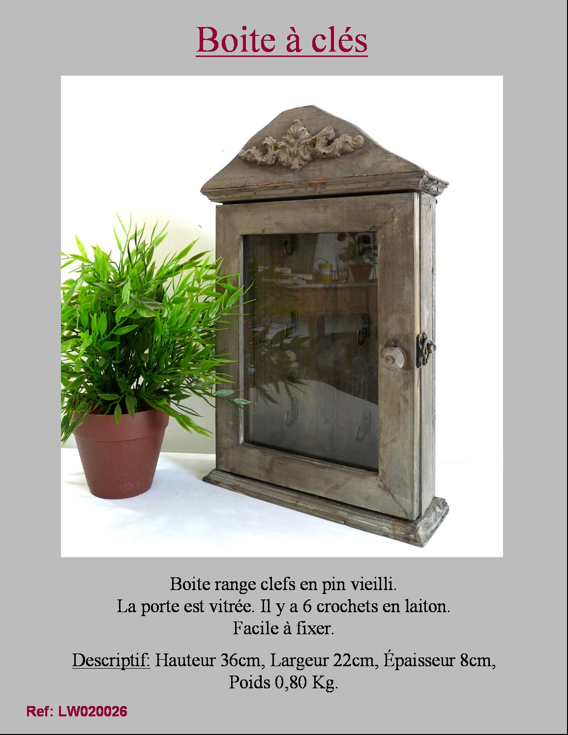 style ancienne boite coffre armoire de rangement a clef cles en bois murale. Black Bedroom Furniture Sets. Home Design Ideas