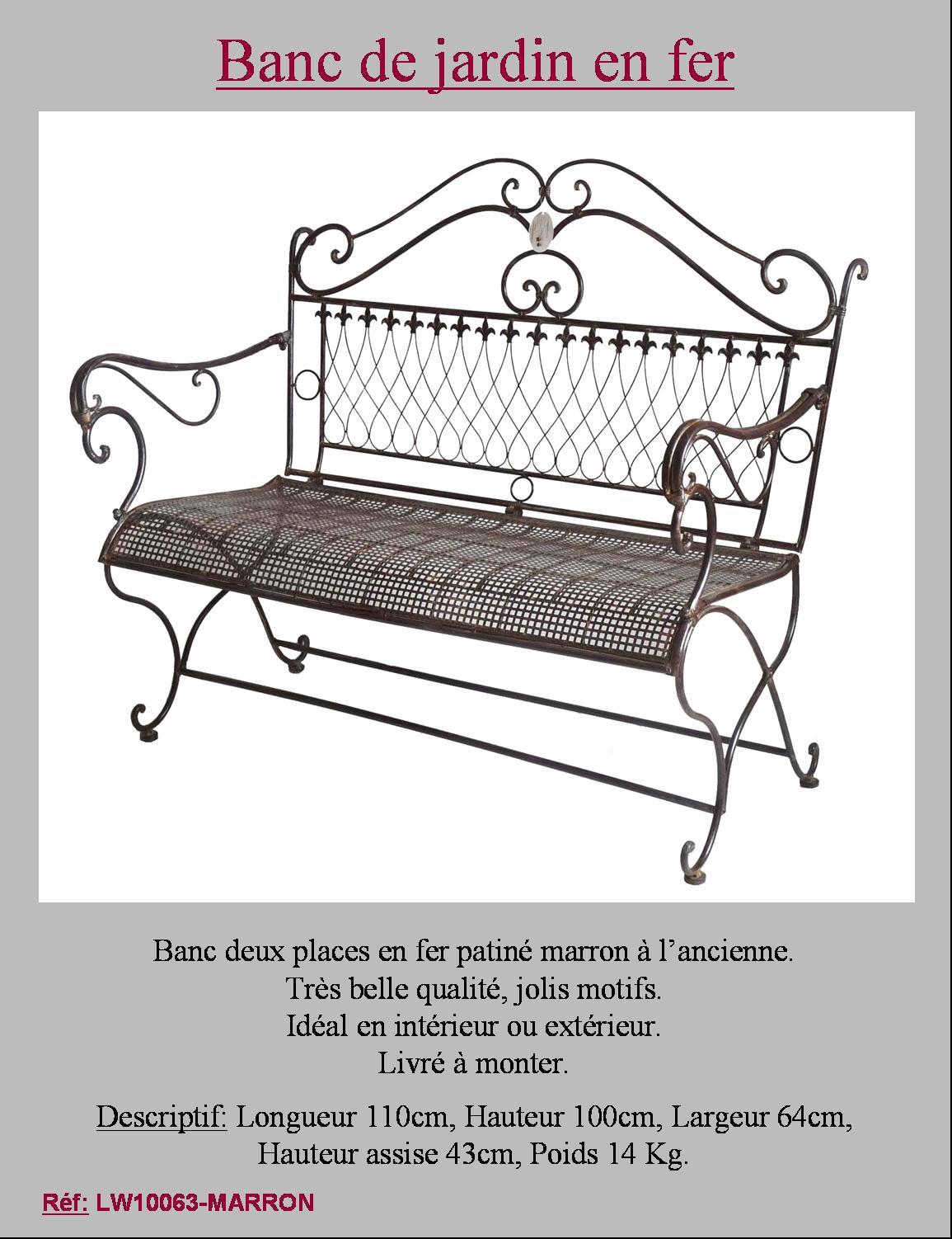 Grand banc fauteuil banquette de jardin en metal fer for Meuble de jardin metal
