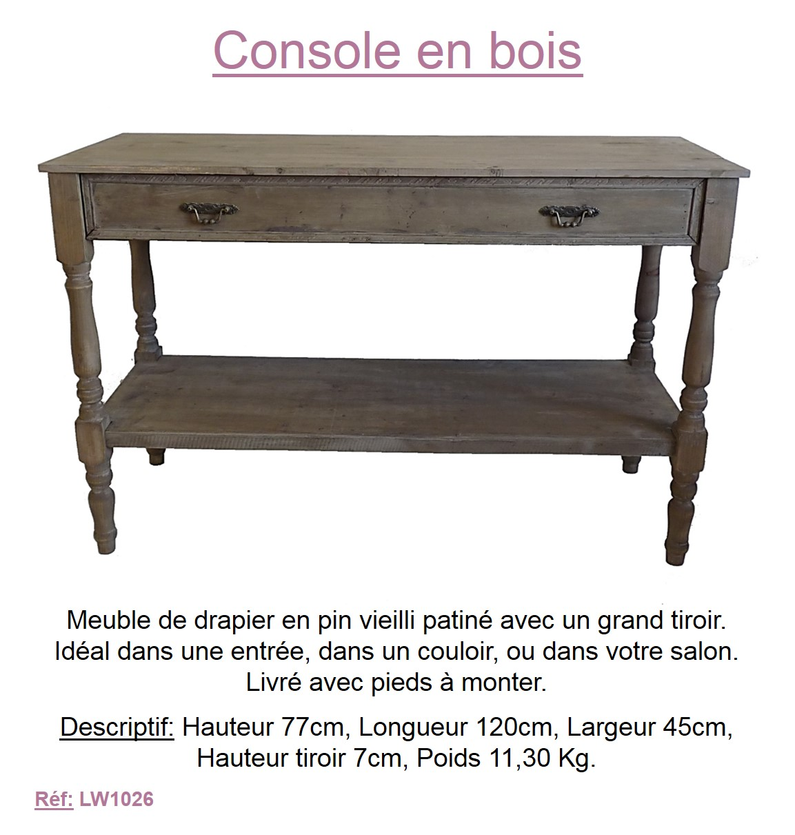 meuble de rangement console commode table de drapier etagere en vieux bois ebay. Black Bedroom Furniture Sets. Home Design Ideas