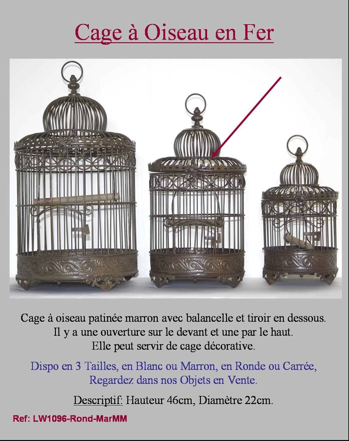 cage voli re a oiseaux en fer forge ronde marron 50cm avec perchoir ebay. Black Bedroom Furniture Sets. Home Design Ideas