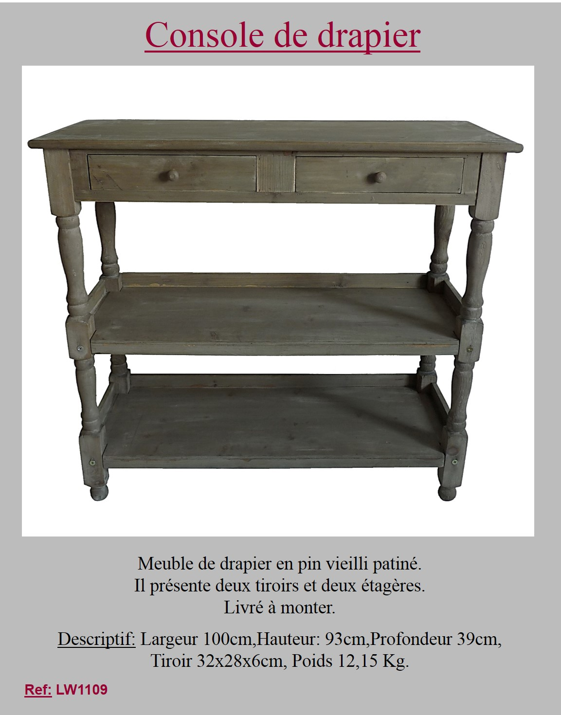 Style ancienne tag re console commode table de drapier en - Table console ancienne ...