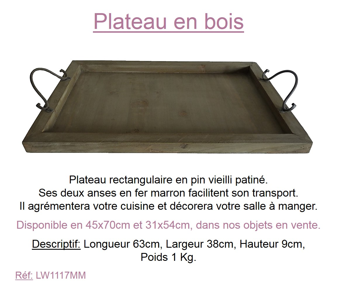 Moyen plateau en bois plat de service rectangle support de for Plateau de cuisine en bois