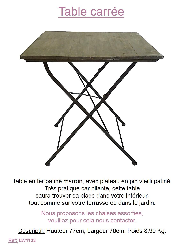 Table desserte pliante de jardin bois style bistro for Table exterieur largeur 70