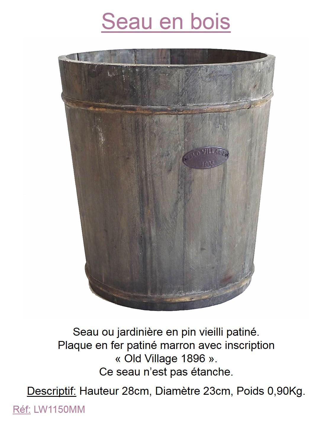 style ancien seau de puit porte plante fleur jardiniere cache pot bois 28x23cm. Black Bedroom Furniture Sets. Home Design Ideas