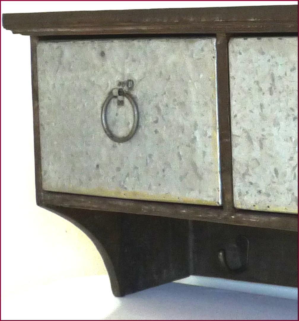 style ancien etagere console murale avec casier tiroir zinc fer de