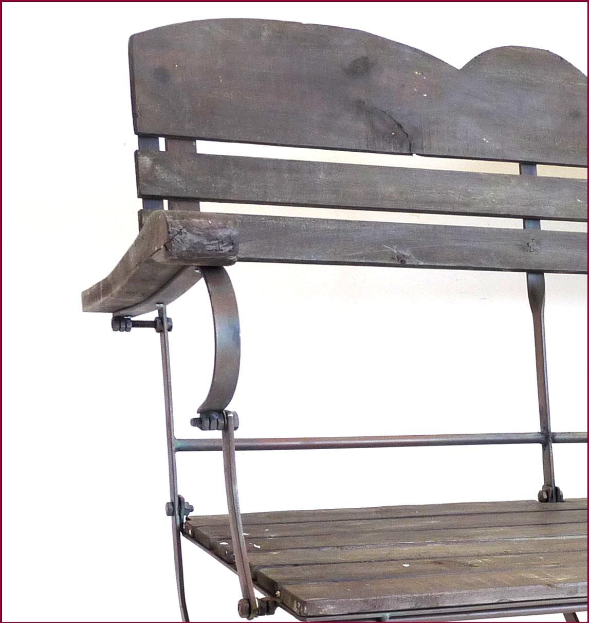 Beau banc fauteuil en vieux bois et fer de jardin de style for Chaise fer forge et bois