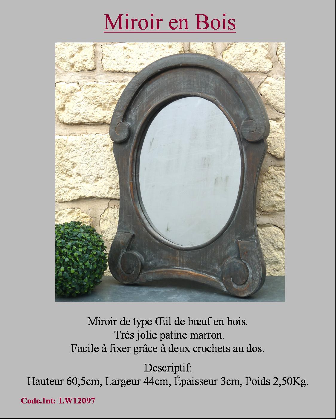 Miroir patine noir gris oeil de boeuf hublot gendarme for Miroir oeil de boeuf