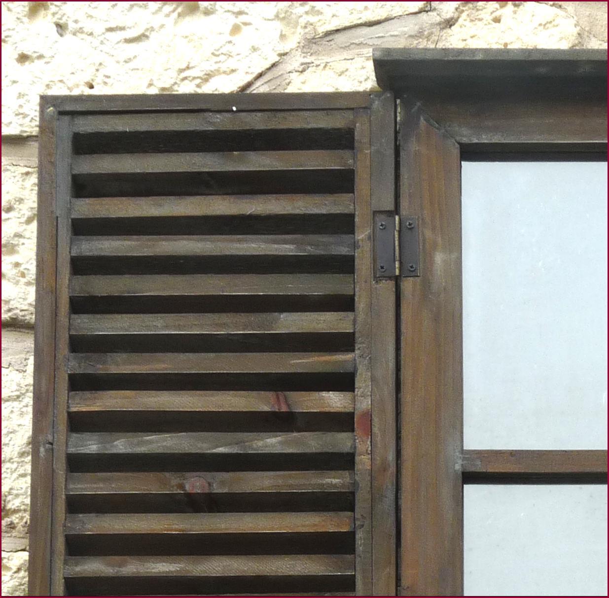 Miroir style ancienne fenetre a volet persienne en bois for Fenetre volet