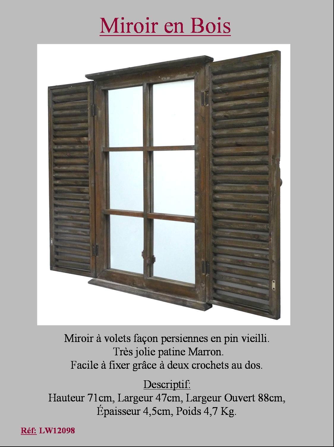 Miroir style ancienne fenetre a volet persienne en bois for Fenetre rectangle