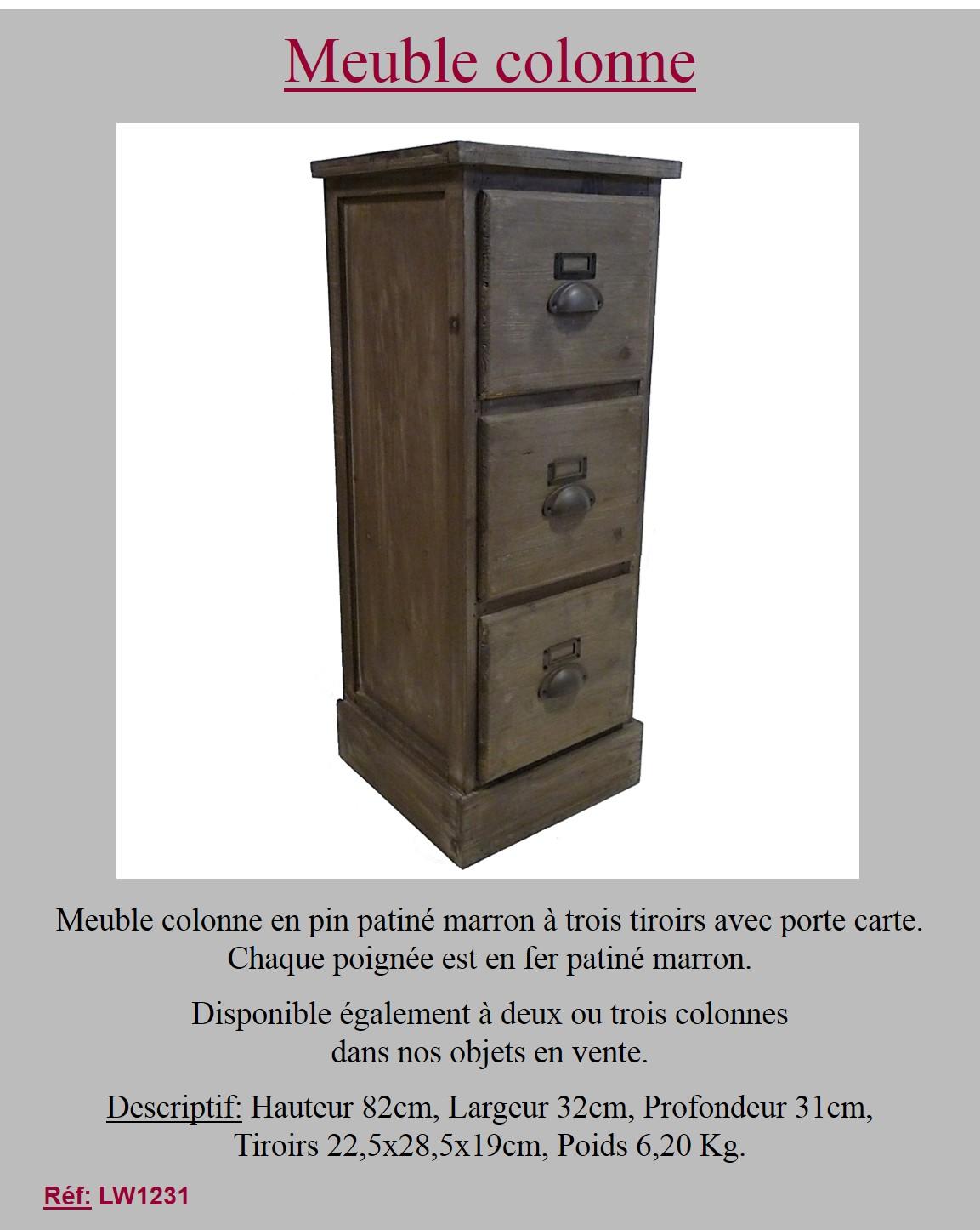 style ancienne meuble colonne de rangement a tiroirs en vieux bois 82cm ebay. Black Bedroom Furniture Sets. Home Design Ideas