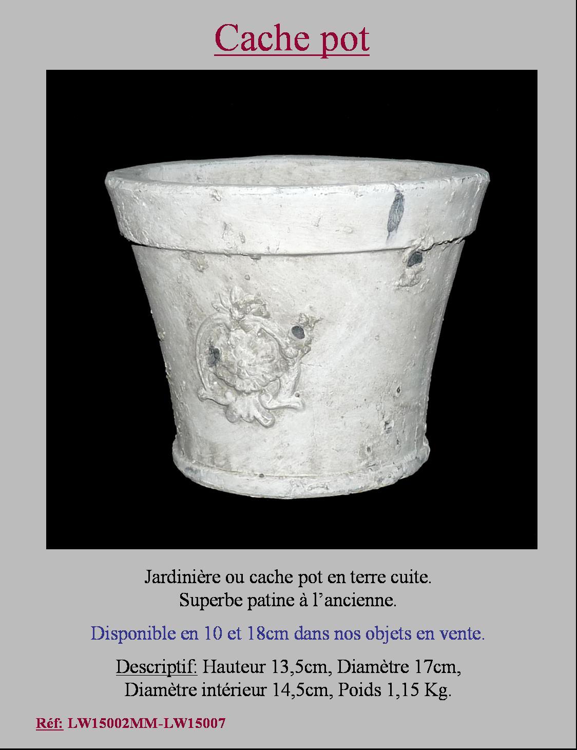 style ancien cache pot porte plante vase jardiniere en terre cuite 13 50x17cm ebay. Black Bedroom Furniture Sets. Home Design Ideas