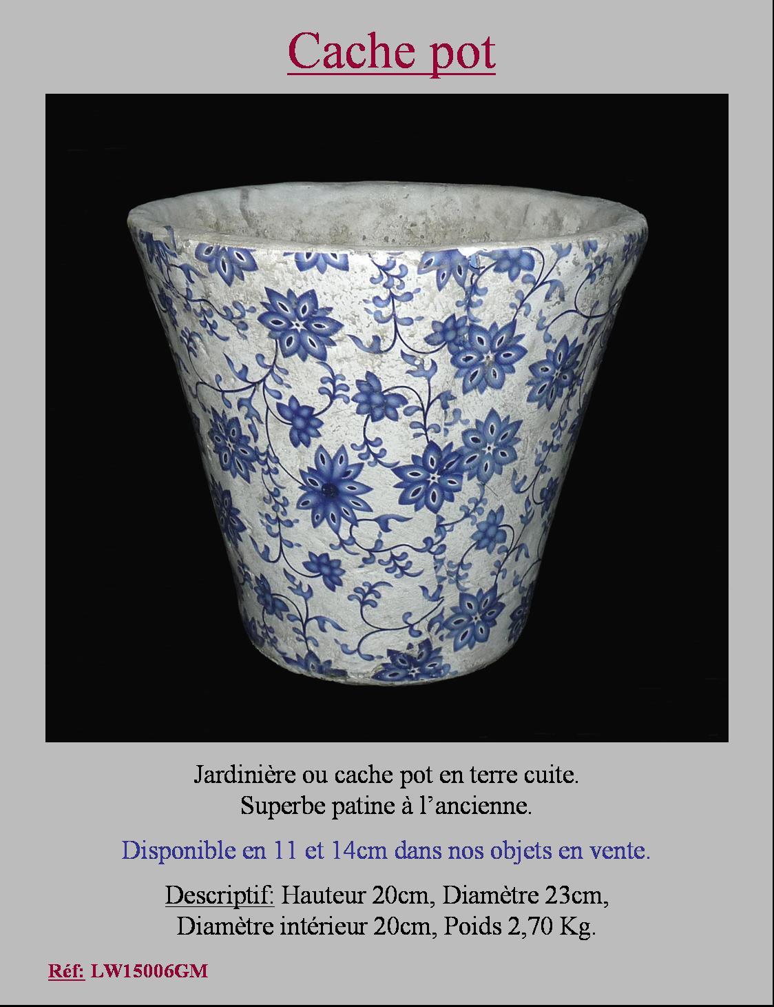 Style ancien cache pot porte plante jardiniere vase en - Cache pot terre cuite ...