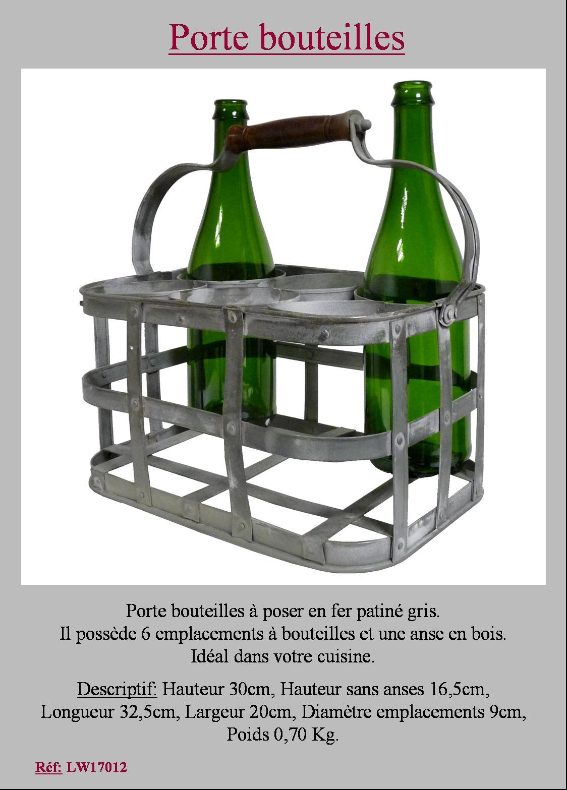 Style ancien porte bouteille metal fer avec anse casier - Porte bouteille en fer ...