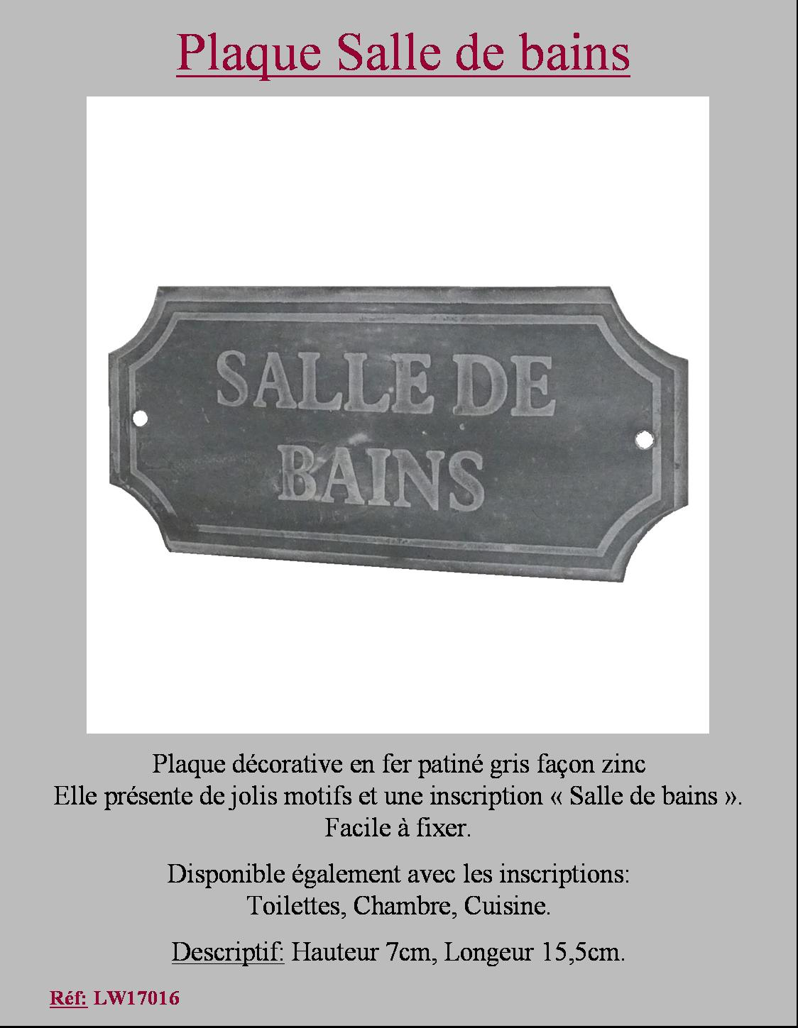 style ancienne plaque de porte salle de bains en metal fer style zinc 7x15cm ebay. Black Bedroom Furniture Sets. Home Design Ideas