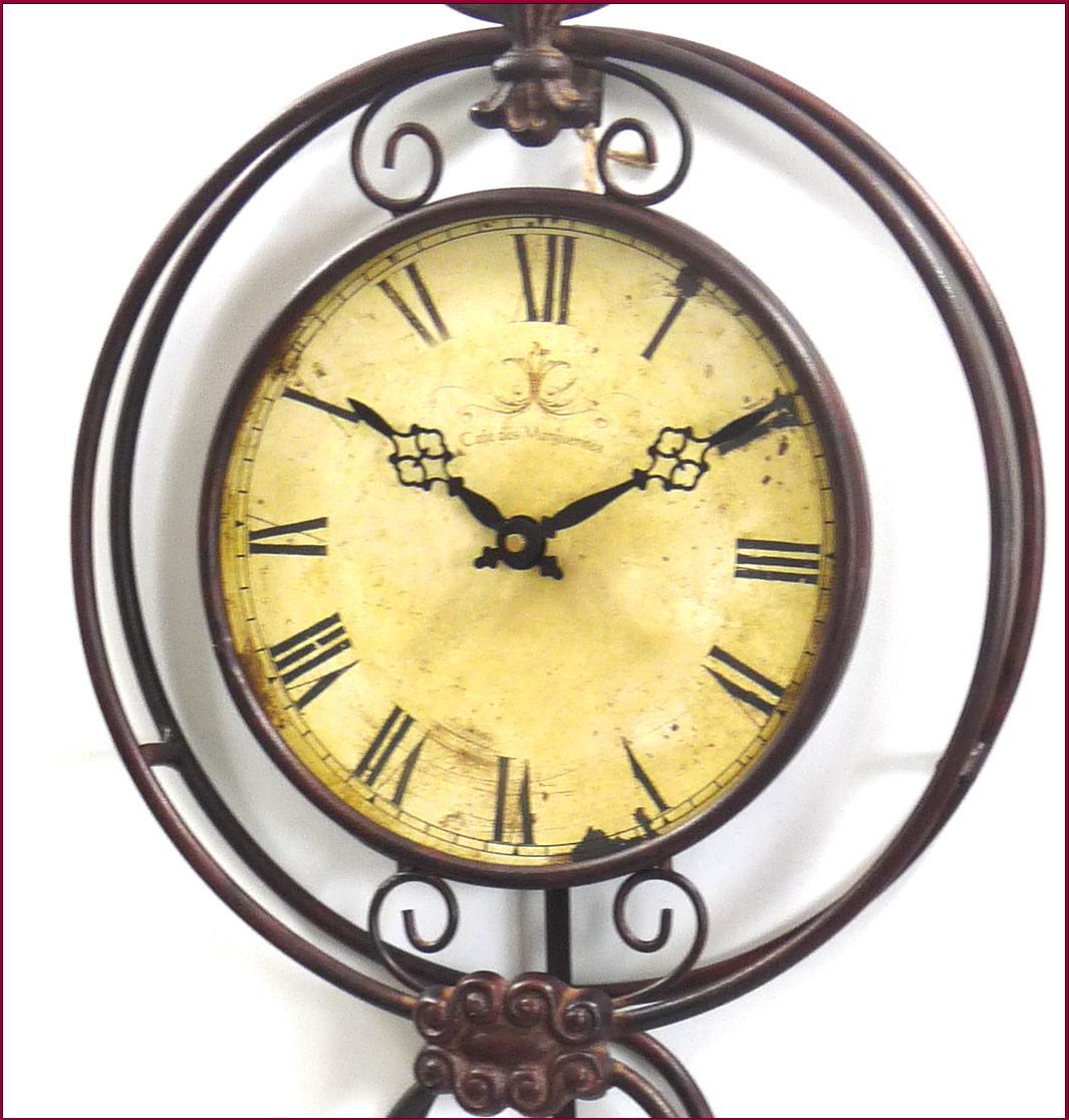 Grande horloge pendule murale a balancier en fer de for Grande horloge murale fer forge