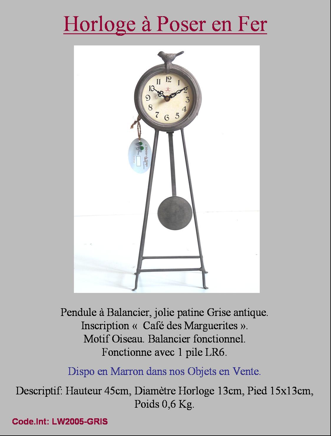 Style ancien horloge a balancier oiseau en fer metal ebay for Horloge en fer