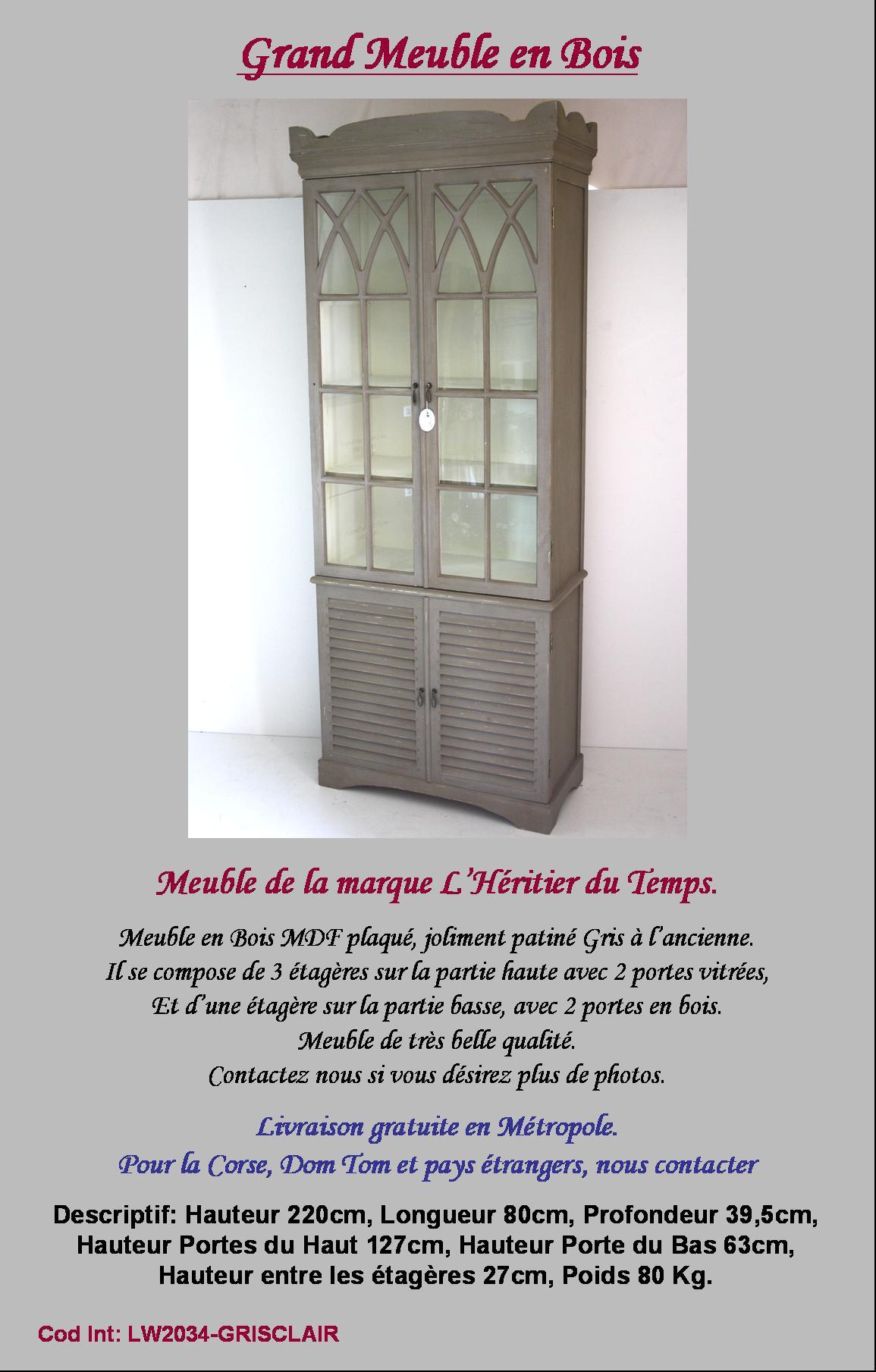 Style ancien meuble vitrine bahut buffet vaisselier ebay - Vaisselier mural ancien ...