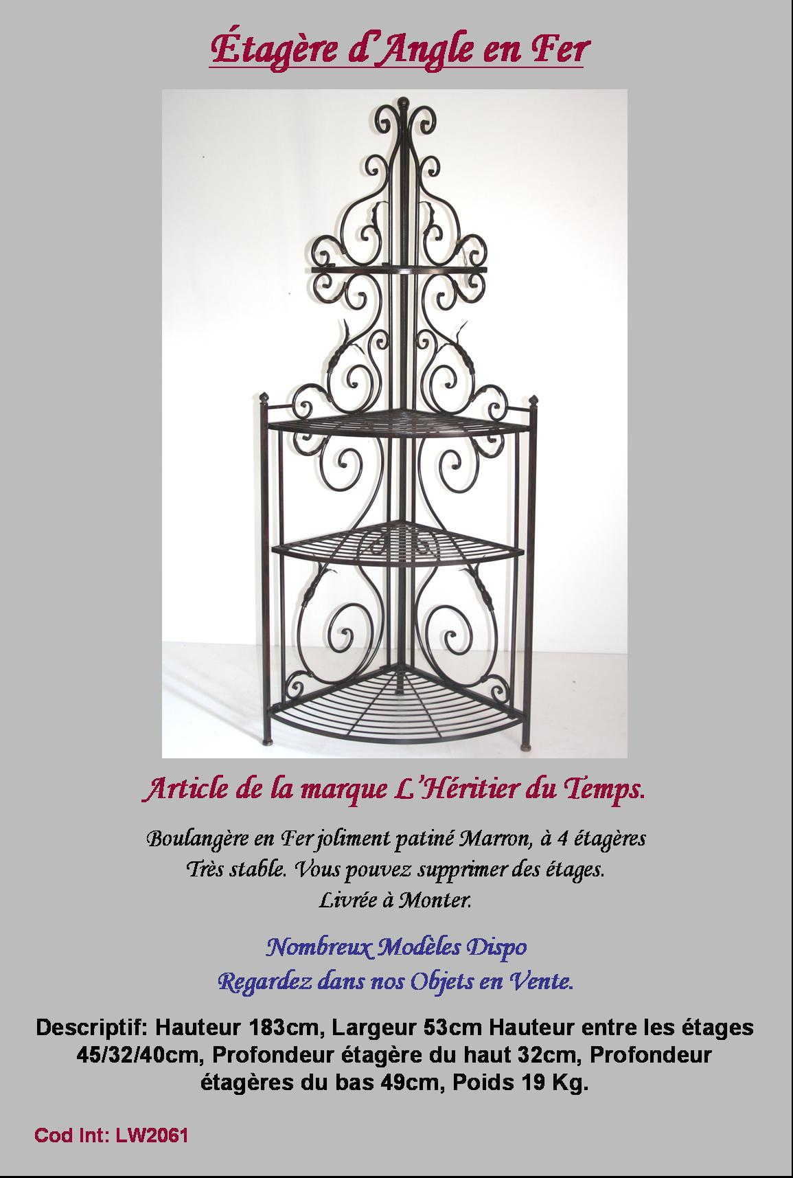 etagere boulangere console d angle de coin en fer forgé ideal cuisine salon  -> Salon DAngle En Fer