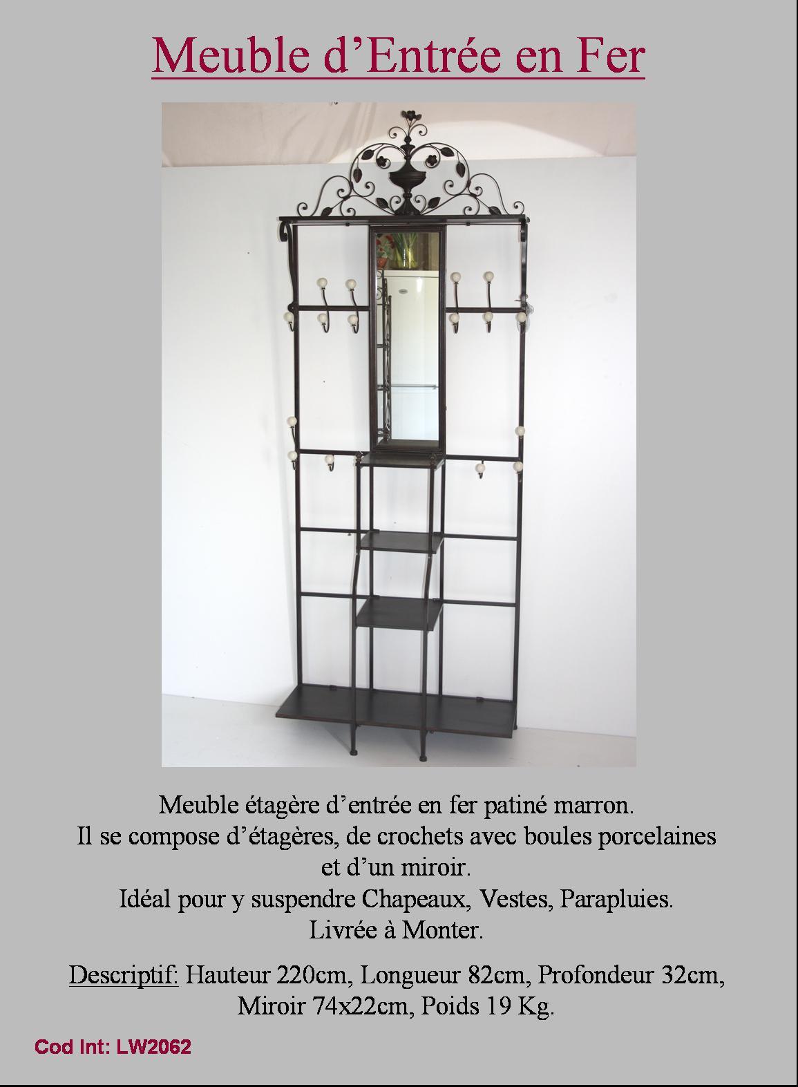 Meuble d entree meuble de rangement vestiaire fer forge ebay - Meuble de rangement entree ...