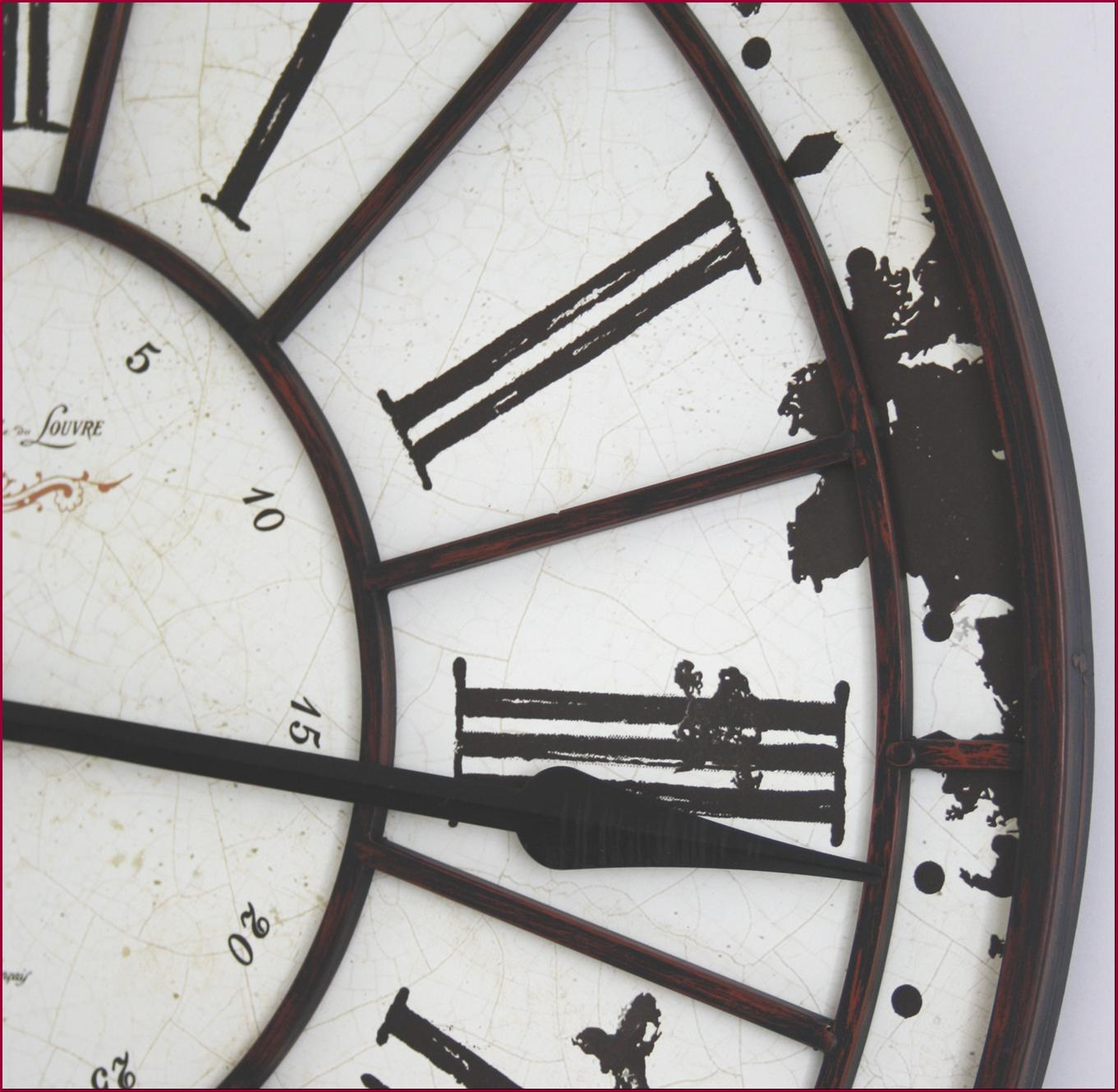 Grande Horloge Murale Cadre Cadran En Fer Forge 74cm Ebay