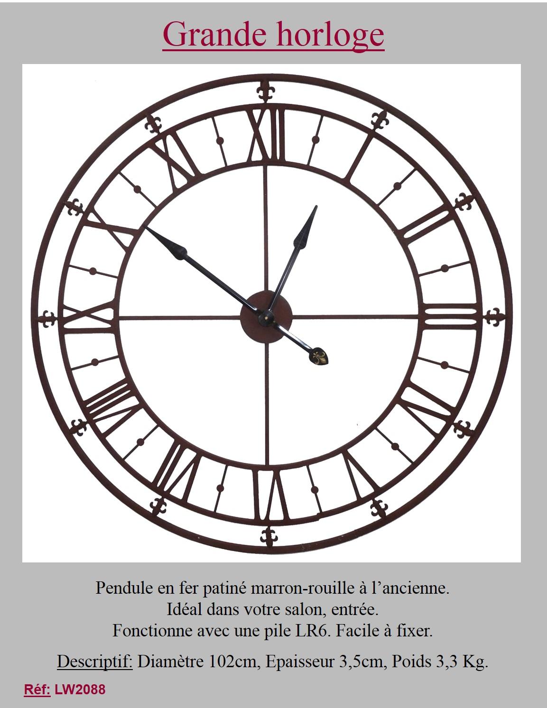 grande geante 102cm horloge murale cadre cadran en metal fer d usine industriel ebay. Black Bedroom Furniture Sets. Home Design Ideas