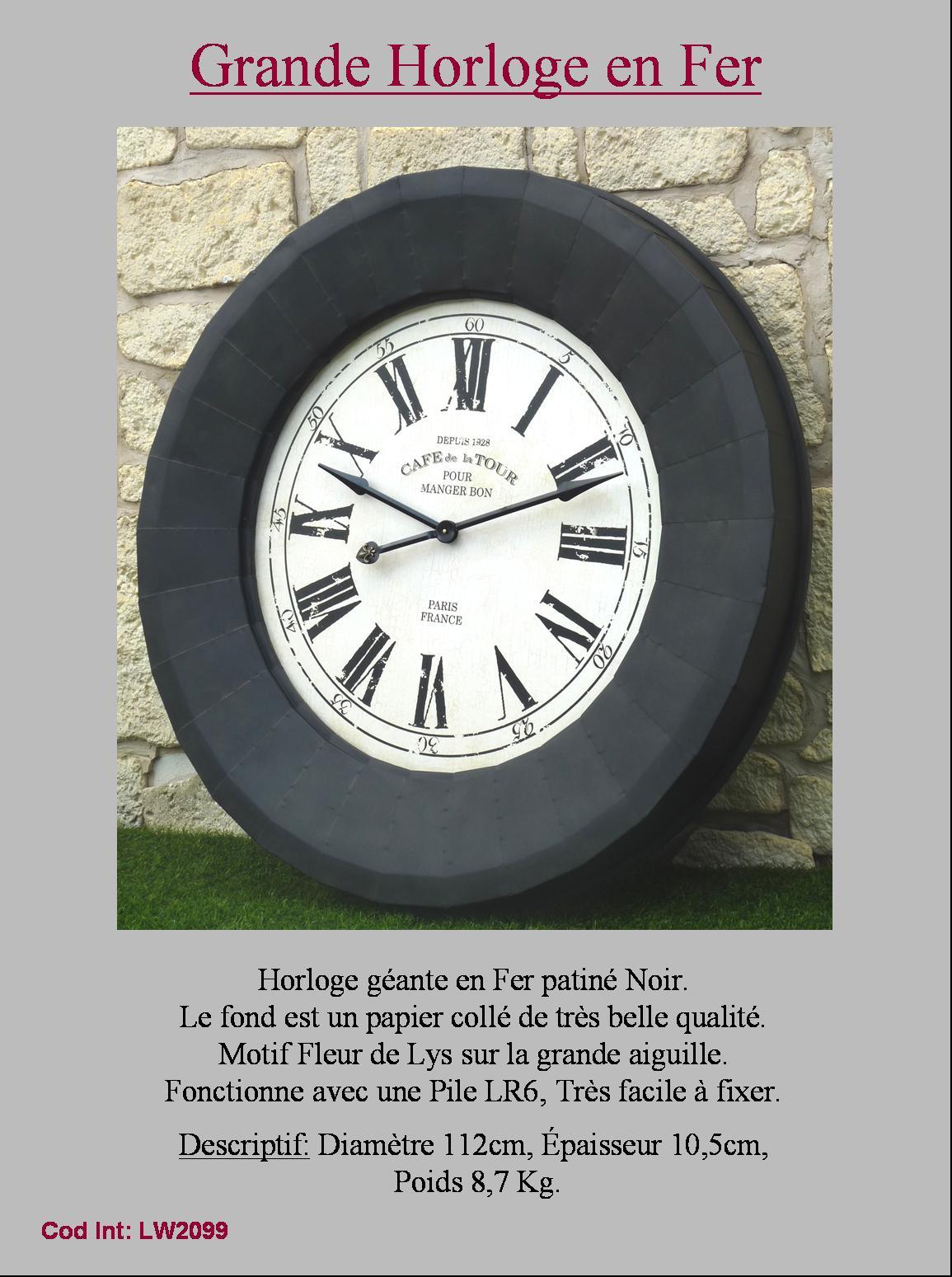 Geante grande horloge industriel usine loft murale cadre cadran en fer 112cm ebay for Horloge en fer