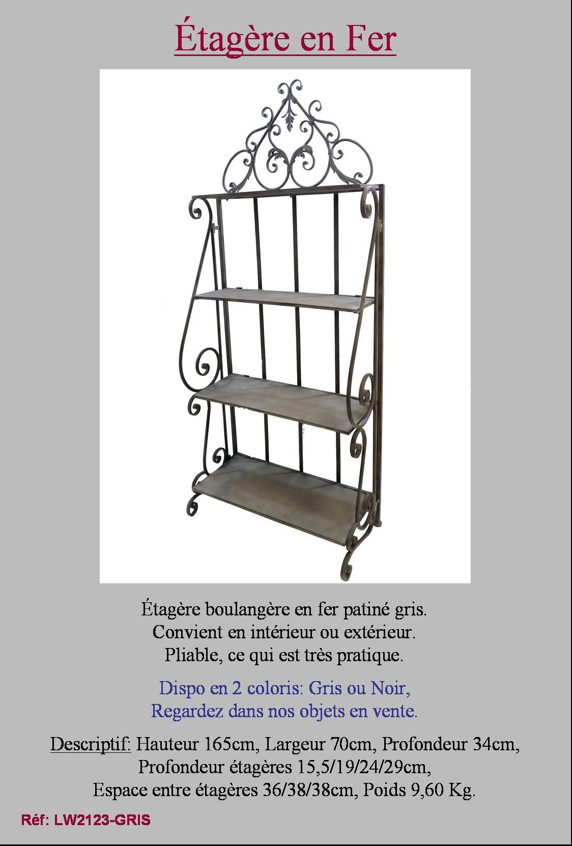 etagere boulangere bibliotheque en fer forg de salon cuisine salle de bain ebay. Black Bedroom Furniture Sets. Home Design Ideas