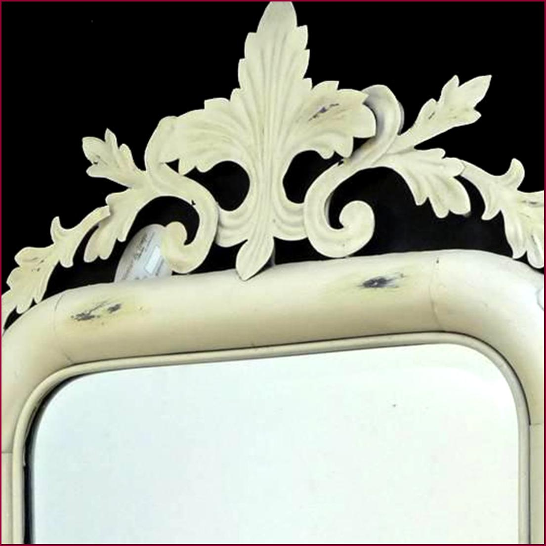 style ancien miroir antique trumeau blanc en fer de salon cuisine salle de bain ebay. Black Bedroom Furniture Sets. Home Design Ideas