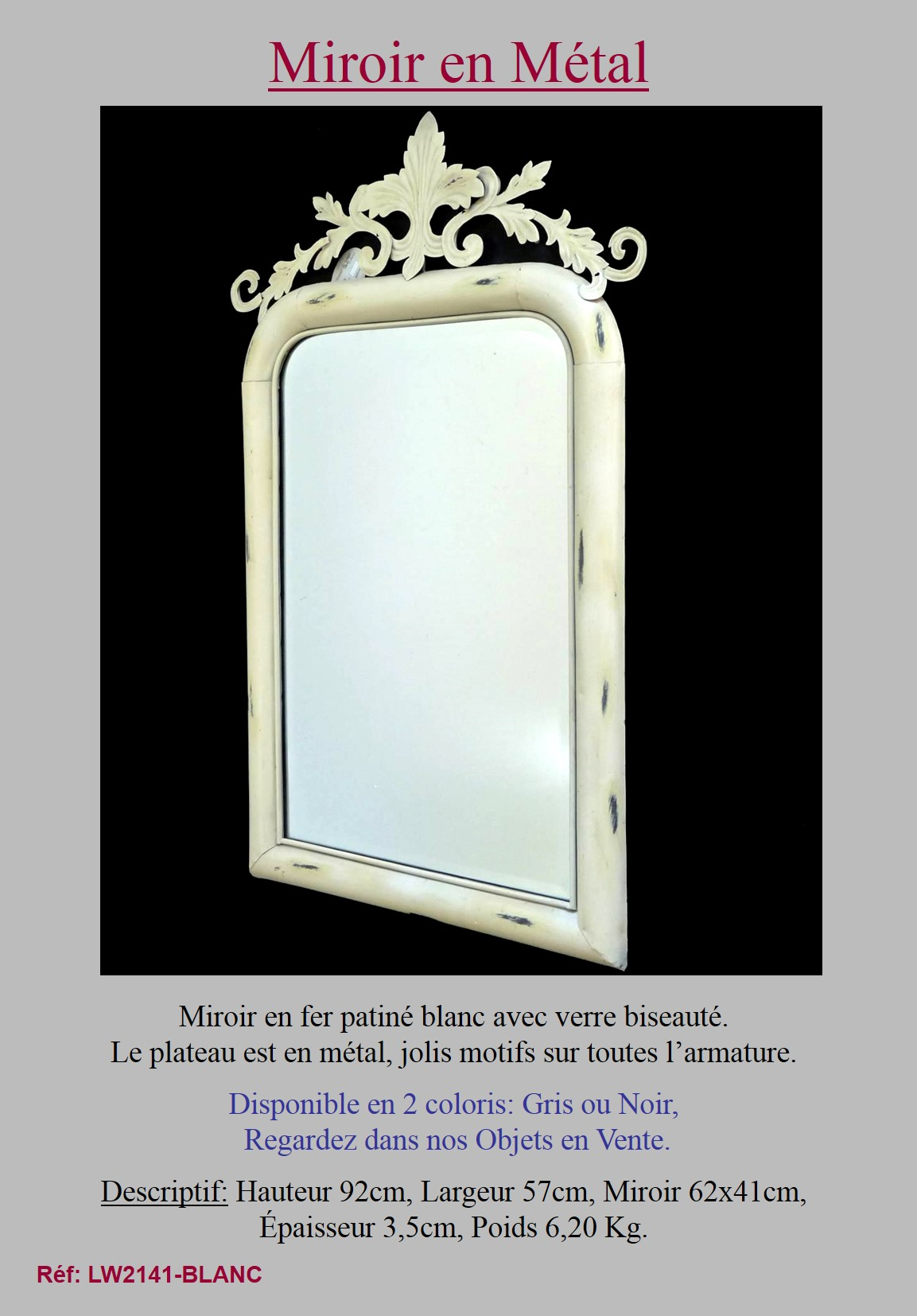 style ancien miroir antique trumeau blanc en fer de salon cuisine salle de bain. Black Bedroom Furniture Sets. Home Design Ideas