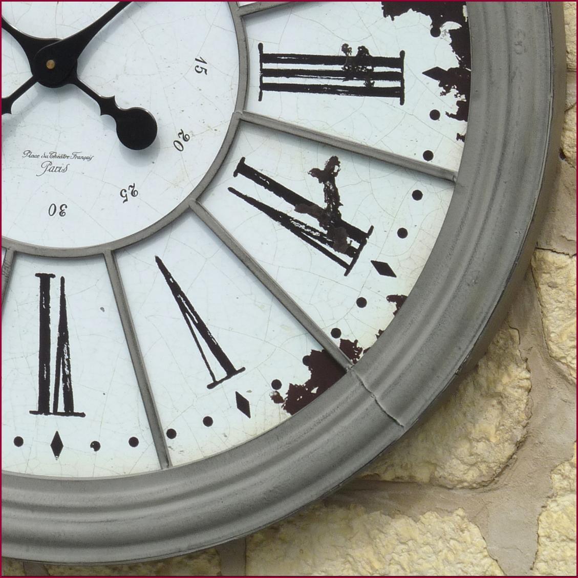 Style ancienne grande horloge pendule murale en fer de with grosse horloge murale ancienne for Grosse horloge blanche