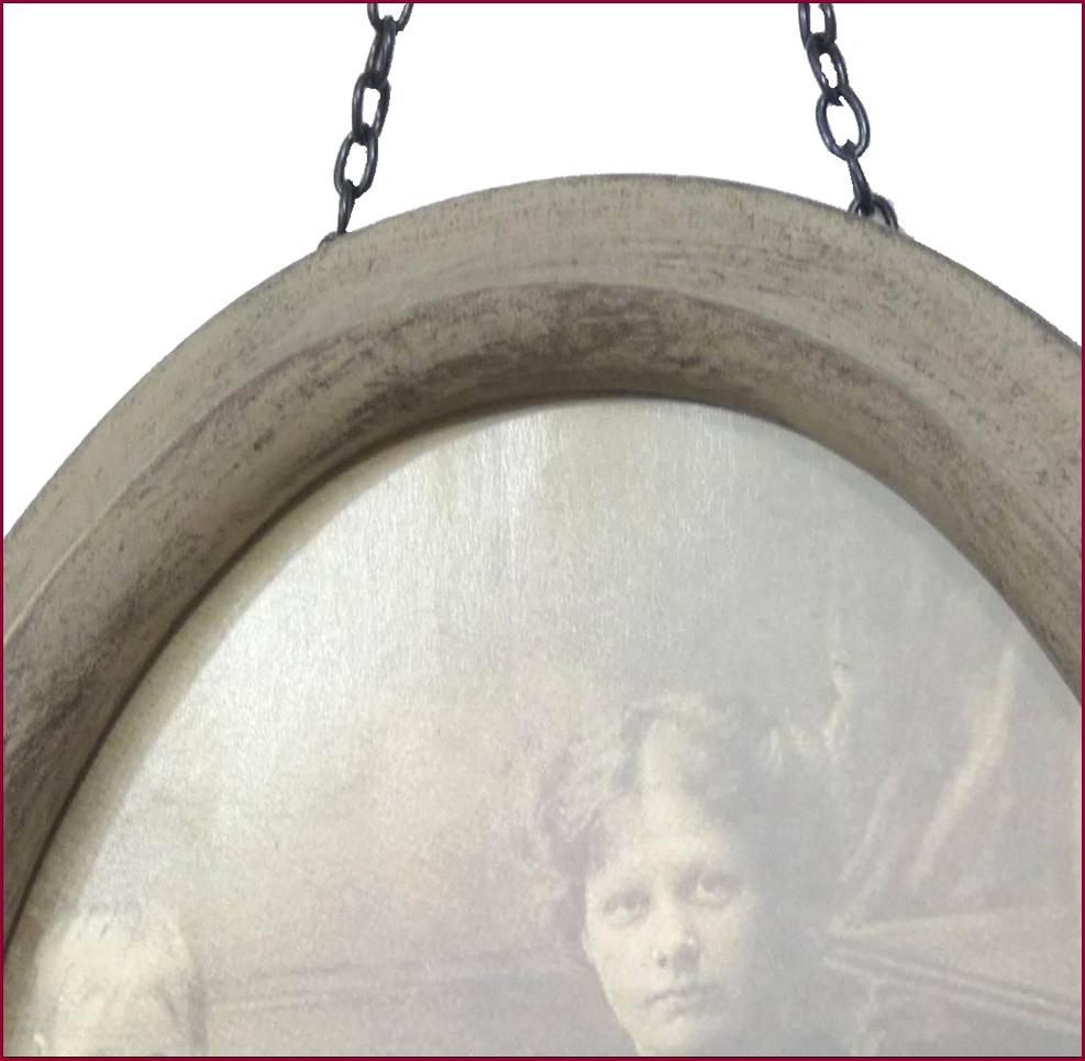 grand cadre photo mural oval gris antique album rangement photo 21x17cm ebay. Black Bedroom Furniture Sets. Home Design Ideas