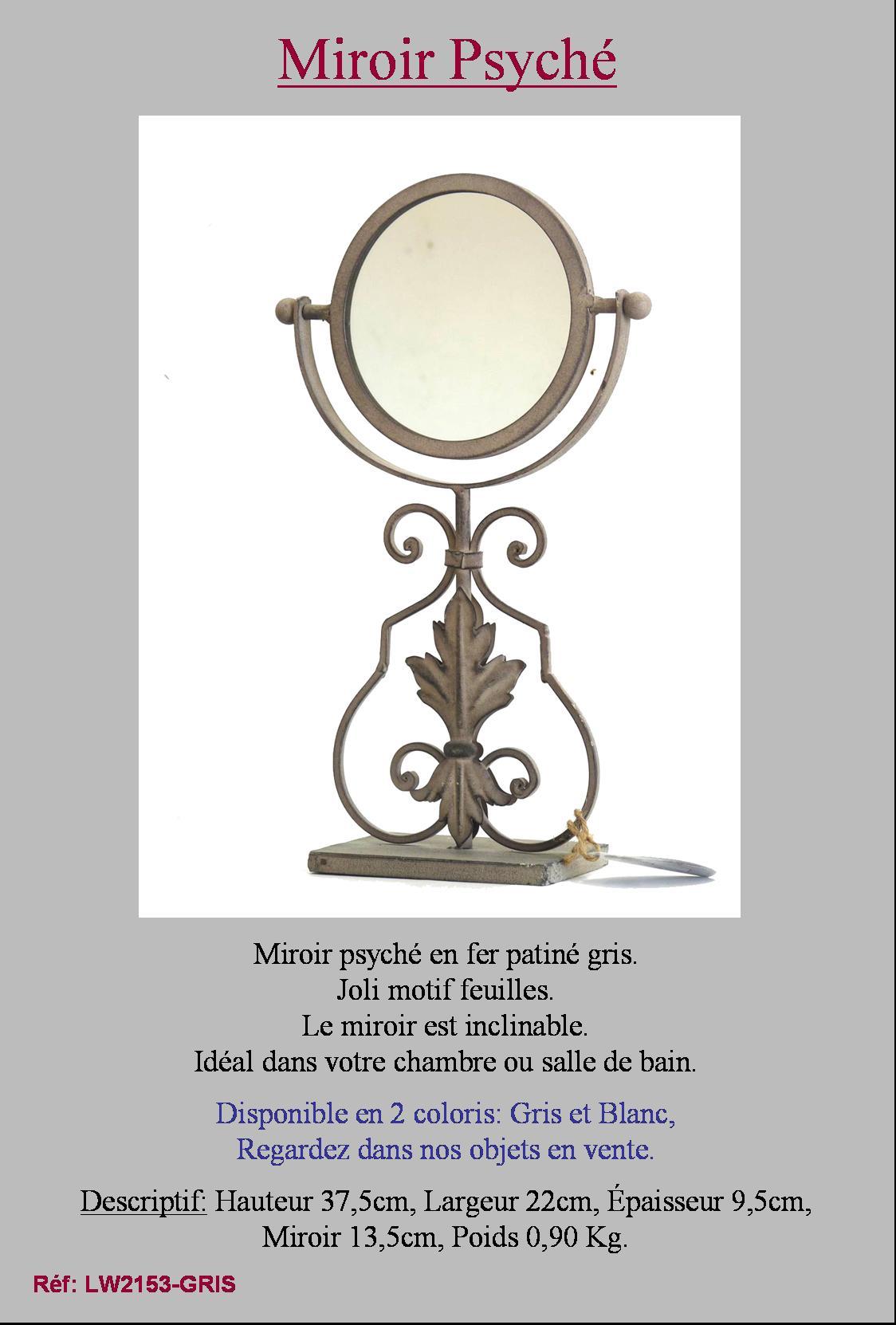 Miroir a poser sur pied psyche psych de chambre coiffeuse for Miroir a poser sur table