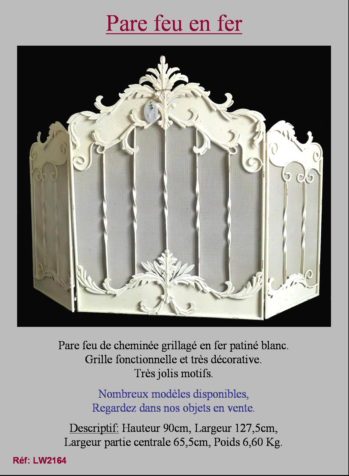 grand ecran pare feu grille protection de cheminee blanc antique a volet en fer. Black Bedroom Furniture Sets. Home Design Ideas