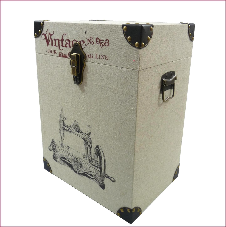 lot 2 coffre malle coffret boite valise carr en bois et tissu de rangement ebay. Black Bedroom Furniture Sets. Home Design Ideas