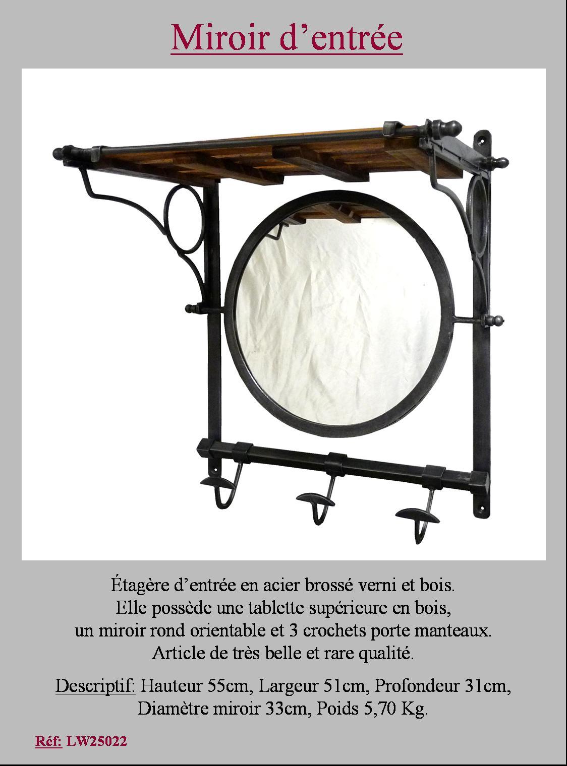 Style ancien miroir oval etagere d entr e porte manteau patere crochet en fer - Miroir d entree ...