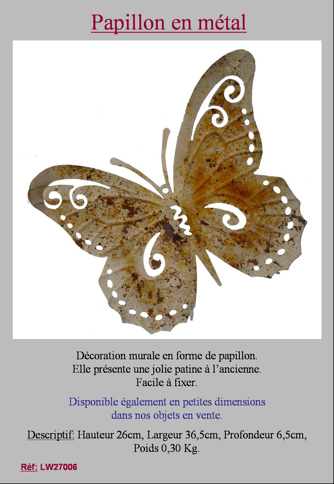 animaux papillon mural de jardin en metal fer ou d interieur 36cm style ancien. Black Bedroom Furniture Sets. Home Design Ideas