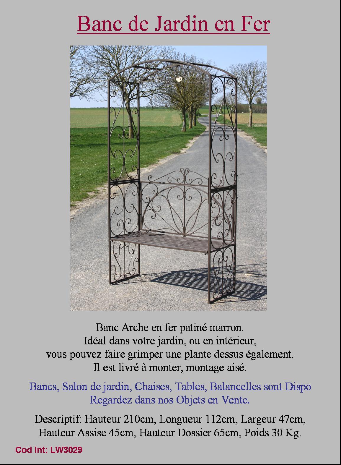 Banc fauteuil arche porte plante grille barriere de jardin for Porte jardin fer