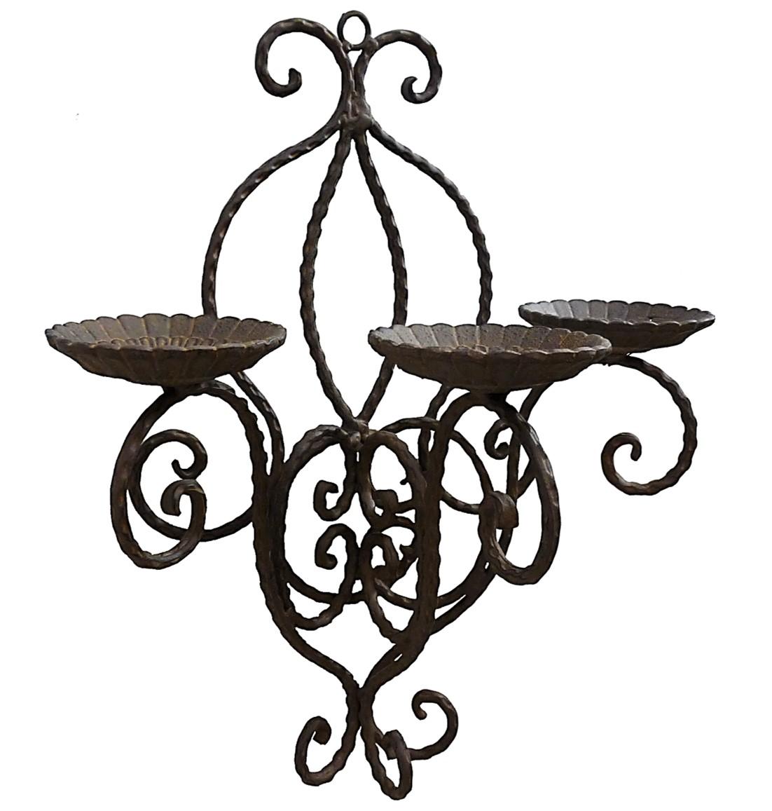 Applique bougeoir chandelier mural en fer forge a bougie - Bougeoir mural fer forge ...