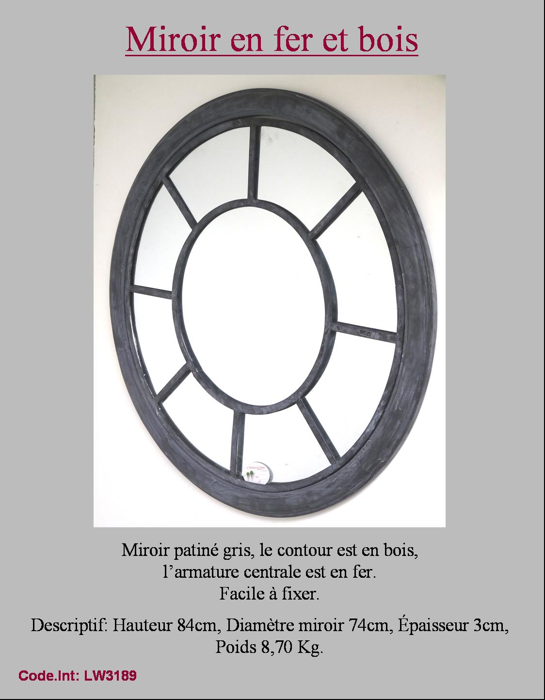 Miroir mural oeil de boeuf hublot rond en fer murale ebay for Miroir oeil de boeuf